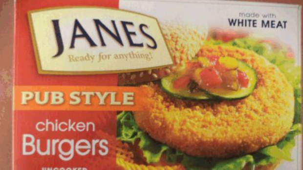 A box of Janes brand pub style chicken burgers is seen in this undated photo. (CFIA)