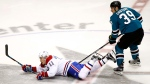 Montreal Canadiens right wing Brendan Gallagher (11) is tripped from behind by San Jose Sharks center Logan Couture (39) during the third period of an NHL hockey game, Tuesday, Oct. 17, 2017, in San Jose, Calif. San Jose won 5-2. (AP Photo/Tony Avelar)