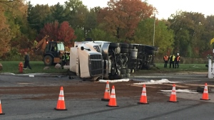 An 18-wheeler carrying a load of milk overturned on Highway 20 west in Vaudreuil-Dorion (CTV Montreal/JL Boulch)