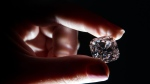 'Le Grand Mazarin,' a 19.07-carat light pink diamond, was a gift to Louis XIV in 1661 and was set in the crowns of almost all of the monarchs and emperors of France who followed, Christie's said. (©CHRIS J RATCLIFFE / AFP)