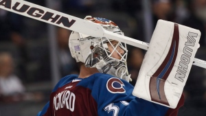 Goalie Calvin Pickard when he was a member of the Colorado Avalanche on Tuesday, Nov. 8, 2016, in Denver. (AP Photo / David Zalubowski)