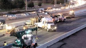 A crash on Highway 401 shutdown the westbound lanes at Hespeler Road in Cambridge on Wednesday morning. (Marta Czurylowicz / CTV Kitchener)