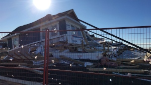 A townhome in the Harbour Landing neighbourhood in Regina was destroyed by wind overnight. (TAYLOR RATTRAY/CTV REGINA)