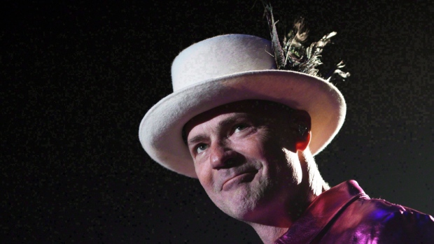 The Tragically Hip's Gord Downie performs during the first stop of the Man Machine Poem Tour at the Save-On-Foods Memorial Centre in Victoria, B.C., Friday, July 22, 2016. (THE CANADIAN PRESS/Chad Hipolito)
