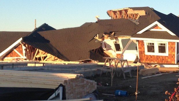A townhome in the Harbour Landing neighbourhood in Regina was destroyed by wind overnight. (ALEX BROWN/CTV REGINA)