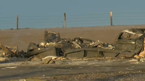 Not much is left of a home in Sharp Hill, southeast of Airdrie, following a huge grass fire on Tuesday afternoon.