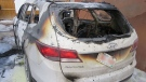 Police say a white, Hyundai Sante Fe, that was deliberately set on fire, was found a few blocks away from the shooting.
