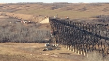 CN Rail crews were working Wednesday to clean up a derailment that took place Tuesday, west of Wainwright.
