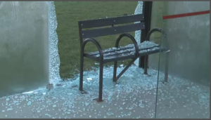 Bus shelters destroyed
