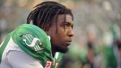 Saskatchewan Roughriders wide receiver Duron Carter takes a breather during first half CFL action against the B.C. Lions, in Regina on Sunday, August 13, 2017. (THE CANADIAN PRESS/Mark Taylor)