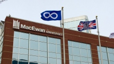 Métis Nation and Treaty 6 flags were permanently raised at Macewan University on Wednesday, October 18, 2017.