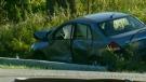 Car leaves road, crashes through hydro pole
