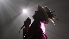 The Tragically Hip's Gord Downie, performs during the first stop of the Man Machine Poem Tour at the Save-On-Foods Memorial Centre in Victoria, B.C., Friday, July 22, 2016. Downie, the poetic lead singer of the Tragically Hip whose determined fight with brain cancer inspired a nation, has died. He was 53. THE CANADIAN PRESS/Chad Hipolito