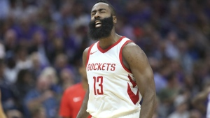 Houston Rockets guard James Harden reacts after scoring against the Sacramento Kings during the second half of an NBA basketball game in Sacramento, Calif. on Wednesday, Oct. 18, 2017. (AP / Steve Yeater)