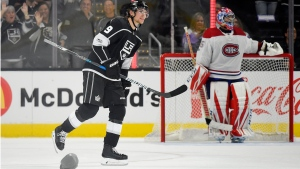 Fans celebrated three goals by Adrian Kempe of the Los Angeles Kings by hurling their hats onto the ice. (AP Photo/Mark J. Terrill)