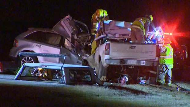 Two people have died in a crash on Highway 1 near the community of Chestermere on Wednesday night.