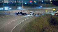 Police are investigating after a woman was killed in a single vehicle crash on Highway 410 in Brampton on October 19, 2017.