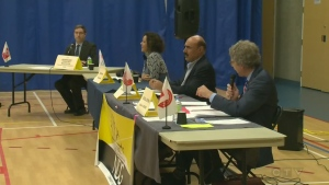 The CDN-NDG mayoral candidates, Sue Montgomery, Zaki Ghavitian, and Russell Copeman, debated on Oct. 18, 2017