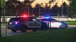 Police investigate a disturbance at the skate park outside Forest Heights Collegiate Institute in Kitchener on Wednesday, Oct. 18, 2017.
