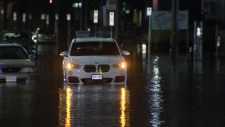 An intense overnight storm flooded some areas so badly that cars were trapped in the pooling water.