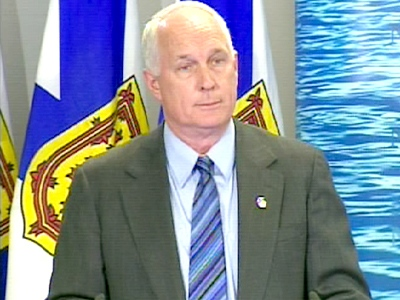Pat Dunn, the Nova Scotia minister of health and protection, speaks at a news conference in Halifax, N.S., on Sunday, April 26, 2009.