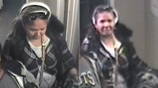 Security camera images taken from inside a Toronto hotel of a wanted wanted in connection with the robbery of a blind woman. (Toronto police handout)