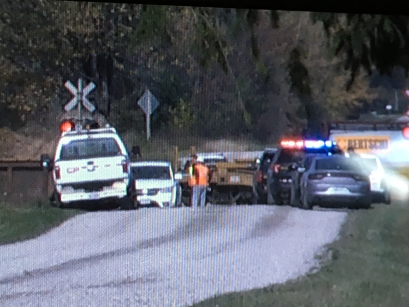 Police are on the scene of a fatal train-vehicle crash near Thamesford on Thursday, Oct. 19, 2017. (Jim Knight / CTV London)