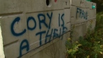 Graffiti is shown on septic tanks at a Kings Custom Homes build site in Bewdley, Ont.