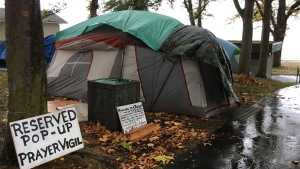 Tents are set up at the Oak bay homeless camp in Victoria, Wednesday, Oct.18, 2017. THE CANADIAN PRESS/Dirk Meissner