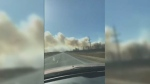 Low visibility from smoke also caused Highway 50 to close from the corner of Provincial Road 265 north for roughly 10 kilometres, and Provincial Road 265 is closed west of Highway 50 for about 20 kilometres. (Source: Twitter)