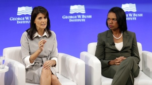 U.S. Ambassador to the United Nations Nikki Haley, left, and former U.S. Secretary of State Condoleeza Rice participate in a panel discussion at a forum sponsored by the George W. Bush Institute in New York, Thursday, Oct. 19, 2017. (AP / Seth Wenig)