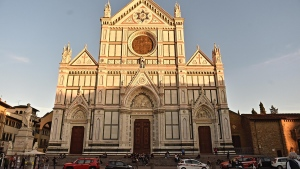 A view of the Santa Croce Basilica where a 52-year-old tourist from Spain was killed by falling masonry, in Florence, Italy, Thursday, Oct. 18, 2017. (Maurizio Degl'Innocenti / ANSA via AP)