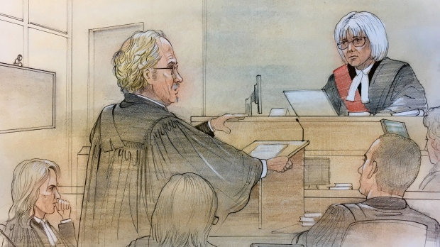 Madame Justice McArthur hears the case of a Toronto pot shop owner who claims he was arrested under an unconstitutional law. (Sketch by John Mantha)