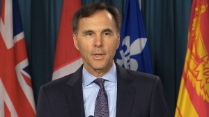 Finance Minister Bill Morneau speaks to reporters on Oct. 19, 2017.