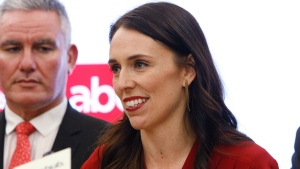 Jacinda Ardern talks to reporters on Thursday, Oct. 19, 2017, in Wellington, New Zealand. (AP / Nick Perry)