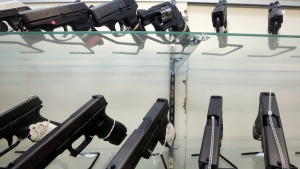 This Wednesday, June 29, 2016, photo shows guns on display at a gun store in Miami. (AP Photo/Alan Diaz)