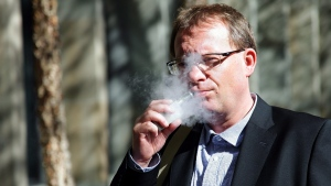 Marek Stupak, who ran medical marijuana dispensaries in Toronto, is seen outside court on Thursday, Oct. 19, 2017. (Colin Perkel/The Canadian Press)