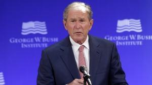 Former U.S. President George W. Bush speaks at a forum sponsored by the George W. Bush Institute in New York, Thursday, Oct. 19, 2017. (AP Photo / Seth Wenig)