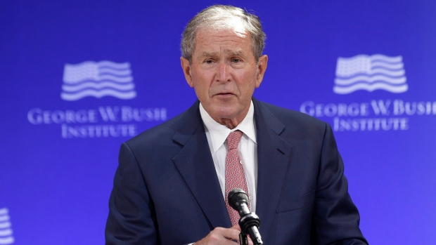 Former U.S. President George W. Bush speaks at a forum sponsored by the George W. Bush Institute in New York, Thursday, Oct. 19, 2017. (AP Photo / Seth Wenig)
