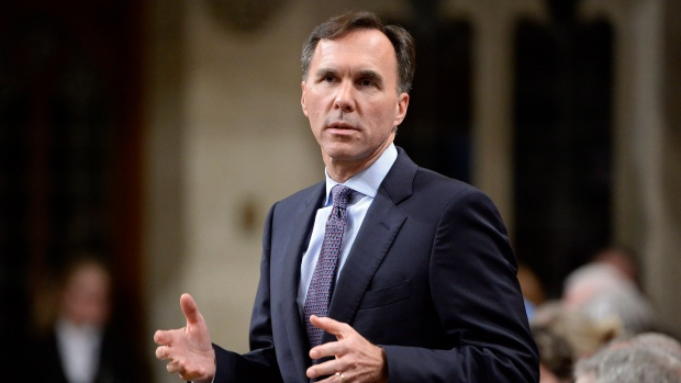 Minister of Finance Bill Morneau speaks during Question Period on Parliament Hill, in Ottawa on Thursday, October 19, 2017. (THE CANADIAN PRESS / Adrian Wyld)