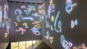 Artist Pae White, whose work will be featured at the Remai Modern Art Gallery of Saskatchewan, used therapy lights for seasonal affective disorder in this installation. (Laura Woodward/CTV Saskatoon)