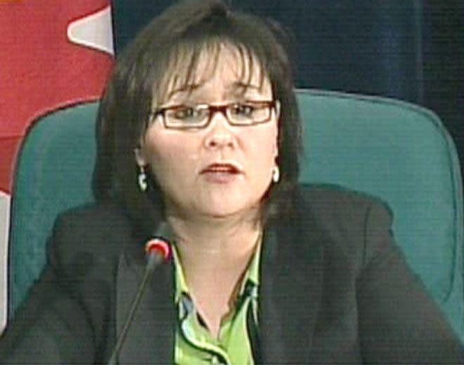 Canada's Minister of Health Leona Aglukkaq speaks to the media about the recent outbreak of swine flu in Mexico in Ottawa on Sunday, April 26, 2009.