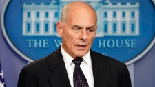 White House Chief of Staff John Kelly speaks to the media during the daily briefing in the Brady Press Briefing Room of the White House, Thursday, Oct. 19, 2017. (AP Photo/Pablo Martinez Monsivais)