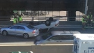 A vehicle sits on its roof after flipping over on the Gardiner Expressway Thursday October 19, 2017. (Submitted)