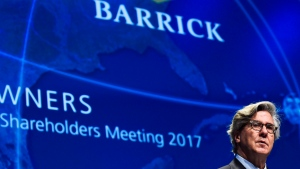 Barrick Gold executive chairman of the board John L. Thornton speaks during the company's annual general meeting in Toronto on Tuesday, April 25, 2017. (Nathan Denette/The Canadian Press)