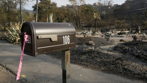 In this Oct. 16, 2017 file photo, a mailbox, one of few items left at the site of the destroyed home in Napa, Calif., where Sara and Charles Rippey died in a fast-moving wildfire, shows a pink and black polka dot ribbon that indicates a fire crew has visited the location. (Eric Risberg/AP Photo)