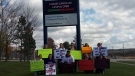 Students from Georgian College's Owen Sound, Ont. campus picket the ongoing faculty strike on Thursday, Oct. 19, 2017. (Wendy Mitchell/ Twitter)