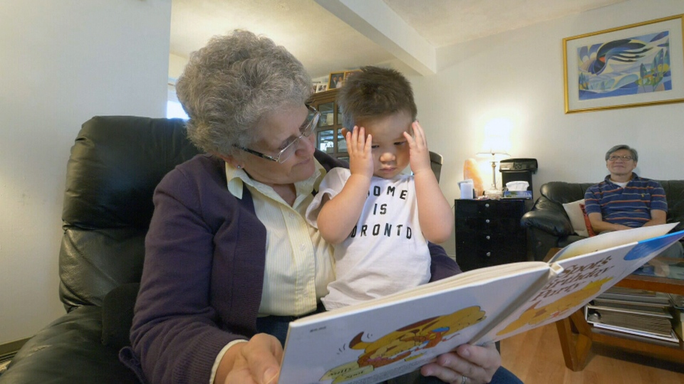 Marjorie Leslie, 62 and her husband Milton Wong, 64, devote several hours every week to minding their two-year-old grandson, Evan