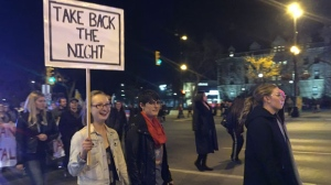 """Advocates called for an end to sexual assault and sexual harassment. This year's theme was """"We believe survivors."""" (CTV Winnipeg/Sarah Plowman)"""
