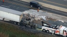 A fuel spill caused by a transport truck fire on Highway 401 caused major delays near Guelph Line on October 20, 2017.